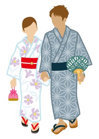 yukata: Japanese Yukata couple, Isolated