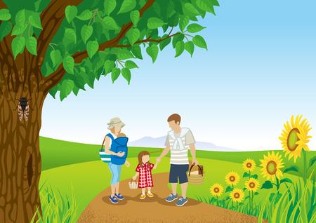 夏の自然の中の家族の散歩  イラスト・ベクター素材