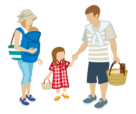 unrecognizable person: Family picnic-Summer Clothing-clip art Illustration