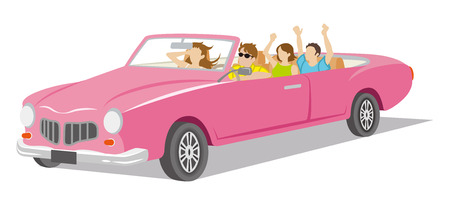 full length woman: Young people ride the Convertible Illustration