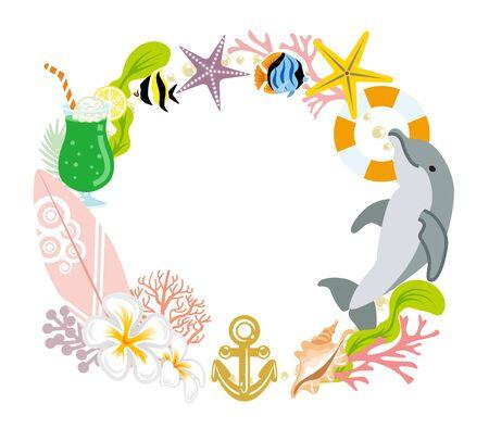 夏の花輪の装飾 - イルカ