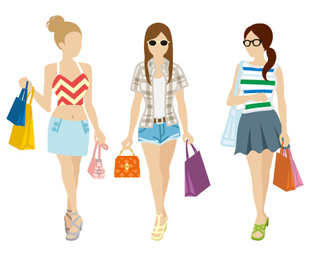 unrecognizable person: Shopping Three girls-Summer fashion