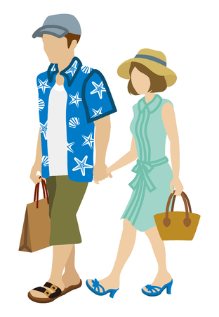 short sleeved: Summer Shopping Couple-wearing hats