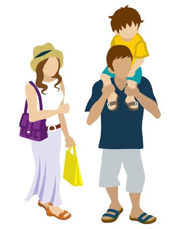 夏ショッピング家族ピギーバック  イラスト・ベクター素材
