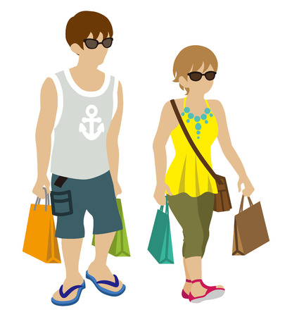 camisole: Summer Shopping Couple-wearing sunglasses Illustration