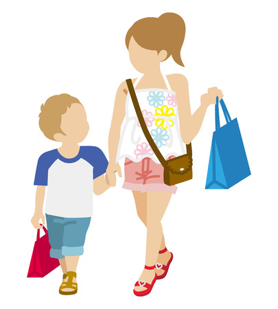 anonymity: Shopping Two Children - Summer fashion Illustration