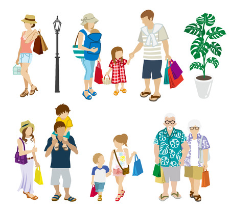many people: Summer Shopping people set-Multi generation