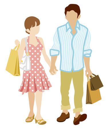 sundress: Summer Shopping Couple-wearing Sundress Illustration