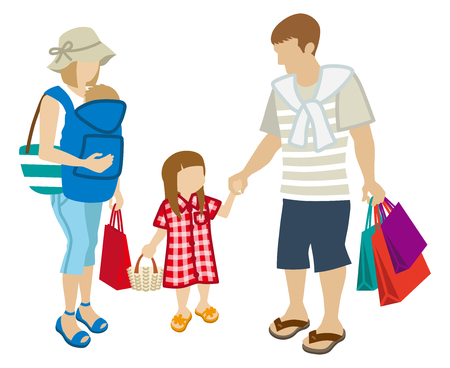 unrecognizable person: Summer Shopping family-baby carrier Illustration