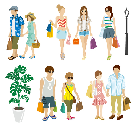 unrecognizable person: Summer Shopping people set-Young Adults
