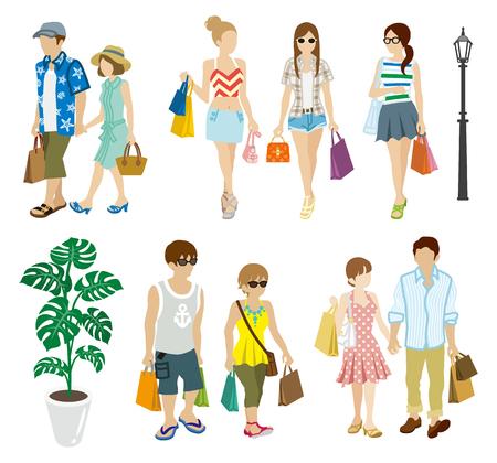 mucha gente: Verano de compra configuración jóvenes adultos