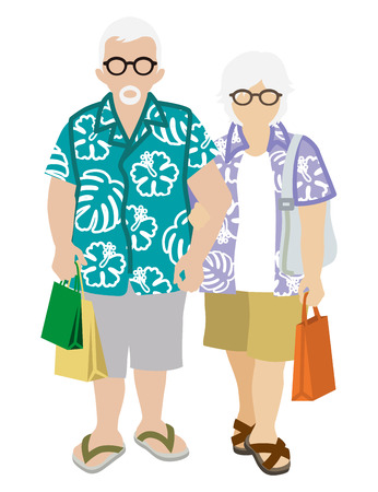 happy couple: Shopping Senior Couple - Summer fashion Illustration