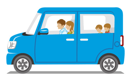 Family riding the Blue car, Side view-Isolated  イラスト・ベクター素材