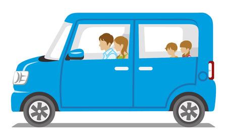 Famille équitation la voiture bleue, vue-Isolated Side Vecteurs