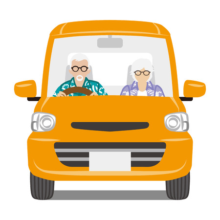 senior couple: Senior Couple riding the Orange color car, front view-Isolated