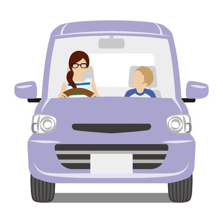 mama e hijo: MOM y el hijo que monta el coche púrpura, aislado-Vista frontal Vectores