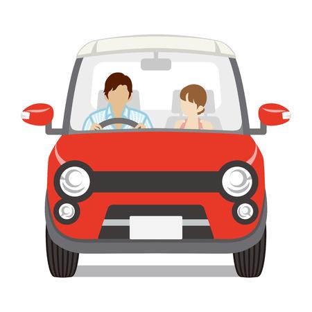 Paar rijden de rode auto, Front view-Isolated