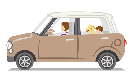 mom and son: Brown car, mom and son and dog, Isolated