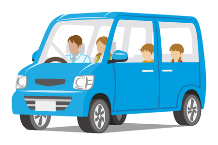 family with two children: Family riding the Blue car, Isolated Illustration