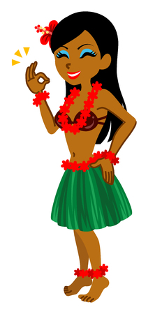 hawaiian culture: Smiling Female Hula dancer, OK sign-Full Length