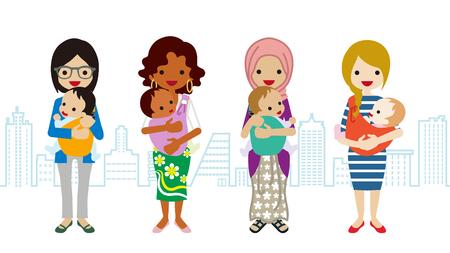 Vaus moeder en baby-Multi-etnische groep Vector Illustratie
