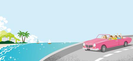 夏のドライブ - ピンクのコンバーチブル、海岸道路  イラスト・ベクター素材