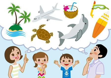 planificación familiar: Vacaciones de verano feliz de la familia planificación