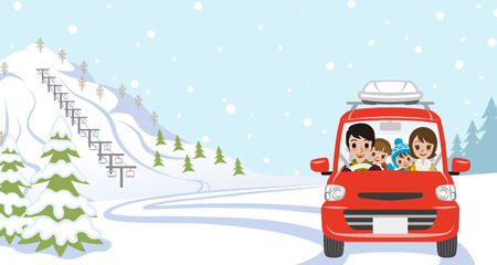 winter car: Car Driving in Winter nature, Young Family  - Front view Illustration