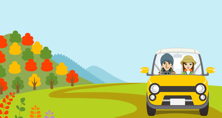front view: Car Driving in Autumn nature, Young Couple  - Front view