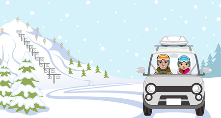 covered in snow: Car Driving to Ski Slope, Young Couple  - Front view
