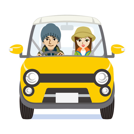autumn fashion: Autumn fashion Couple riding the Yellow car - Isolated