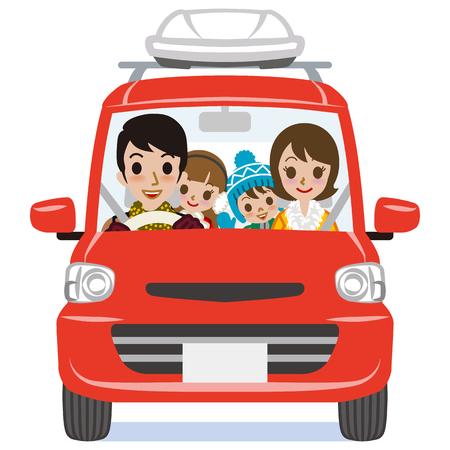 Manera del invierno Familia que monta el coche rojo - Aislados
