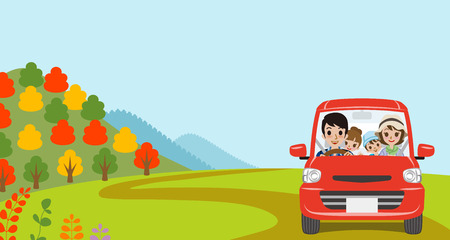 family illustration: Car Driving in Autumn nature, Young Family  - Front view Illustration