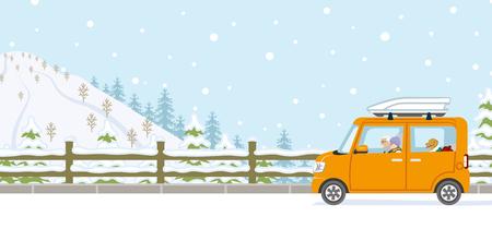 car driving: Winter Drive, Senior couple, Anonymity Illustration