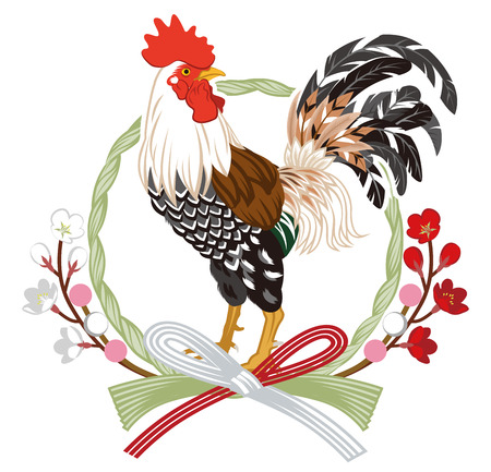 japanese new year: Rooster with Japanese Grass Wreath decoration Illustration