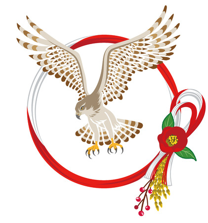 talons: Flying Hawk with Japanese Wreath