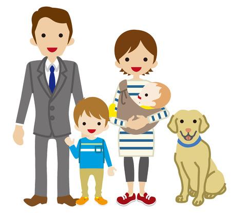 mom dad: Los padres y dos niños con el perro - Son