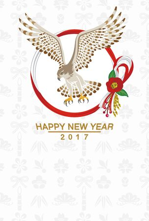 talons: Hawk and Wreath -New Year card