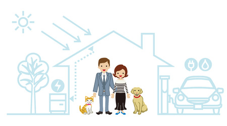 energies: Young family in the Futuristic House - Couple and Pets Illustration
