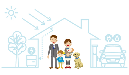 storage compartment: Young family in the Futuristic House - Baby and son Illustration