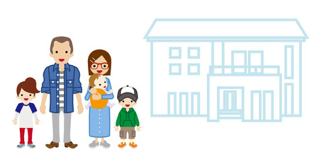 three children: House and Family - Parents and Three Children Illustration