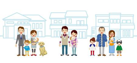 3 つの若い家族と住宅  イラスト・ベクター素材