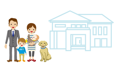 young family: House and Family - Baby and Son Illustration