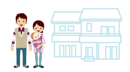 home ownership: House and Family - Baby and Parents Illustration