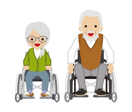 senior couple: Senior couple - Wheelchair pair
