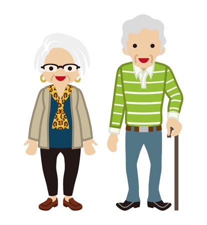 senior couple: Senior couple - Cane