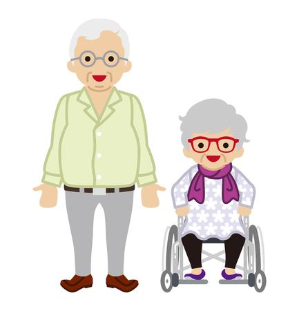 senior couple: Senior couple - Wheelchair Wife
