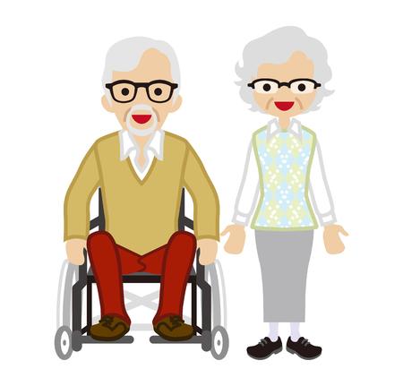 senior couple: Senior couple - Wheelchair Husband