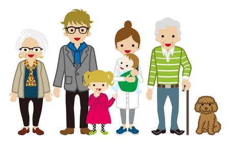 Multi-Generation Family -Cane grandpa