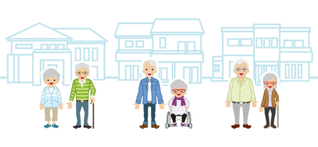 Three Senior couple and houses Ilustração